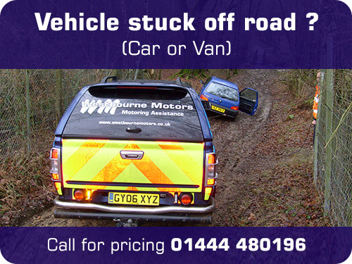Vehicle stuck off road (Car or Van) Call for pricing 01444 480196